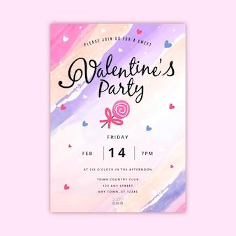 Handgeschilderde valentijnsdag partij poster sjabloon