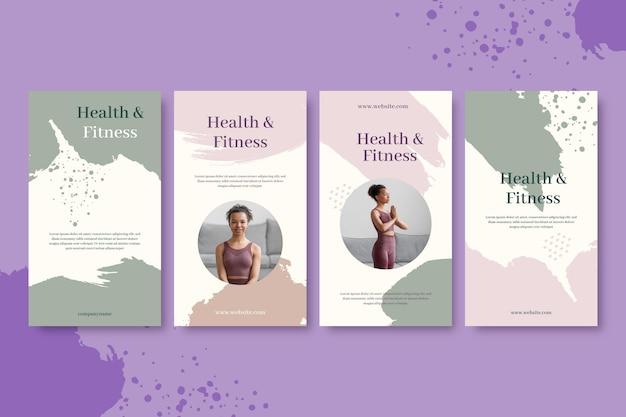 Handgeschilderde verzameling gezondheids- en fitnessverhalen met foto