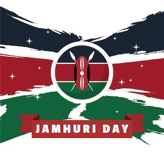 Handgeschilderde vlag van de jamhuri-dag