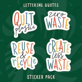 Handgeschreven belettering zinnen gewijd aan ecologische en milieukwesties