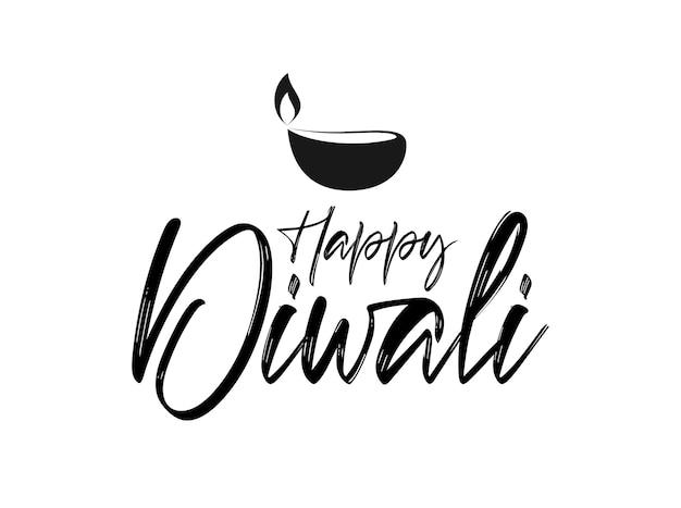 Handgeschreven borstel belettering type samenstelling van happy diwali met lamp.