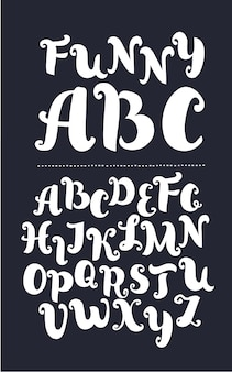 Handgeschreven borstel stijl moderne kalligrafie cursief lettertype met bloeit kalligrafie alfabet schattig ca...