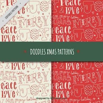 Handgeschreven brieven patroon set met kerst boodschappen