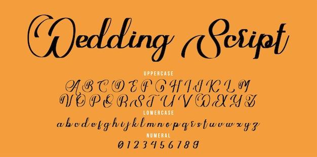 Handgeschreven bruiloft script lettertype. penseel lettertype