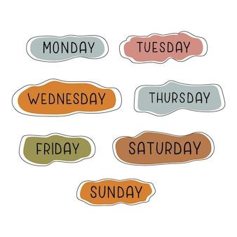 Handgeschreven dagen van de week maandag dinsdag woensdag donderdag vrijdag zaterdag zondag