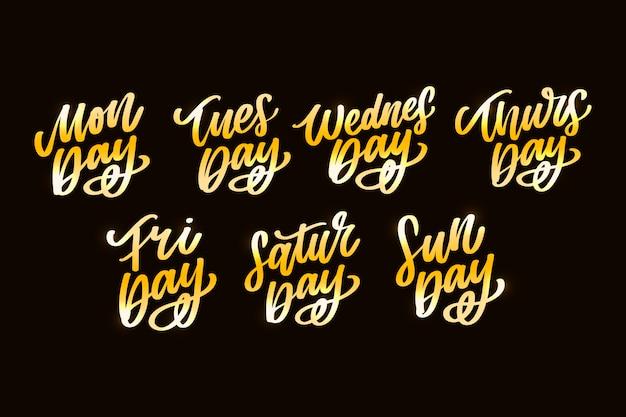 Handgeschreven inscriptie dagen per week. kalligrafie. geschreven inscriptie dagen per week. kalligrafie.