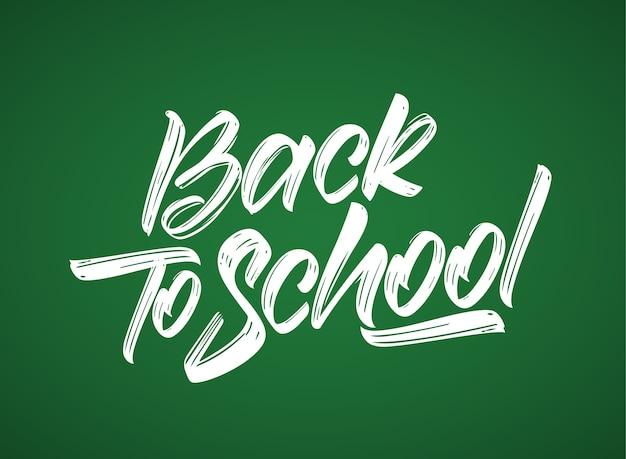 Handgeschreven kalligrafische lettersamenstelling van back to school op bordachtergrond