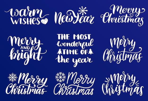 Handgeschreven kerst- en nieuwjaarskalligrafie set van vrolijk en helder, warm wensen etc. Premium Vector