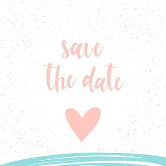 Handgeschreven letters op wit. doodle handgemaakte bewaar de datumcitaat en met de hand getekend hart voor ontwerpt-shirt, trouwkaart, bruidsuitnodiging, valentijnsdagbrochures, plakboek, album enz.