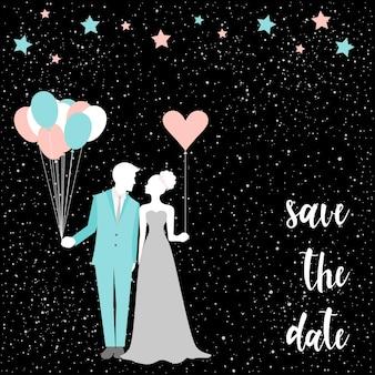 Handgeschreven letters op zwart. bruids kaart met bruid en bruidegom. romantisch huwelijksdecor voor kaart, uitnodiging, poster, banner, menu, plakkaat, billboard, behang, album, plakboek, t-shirtontwerp enz