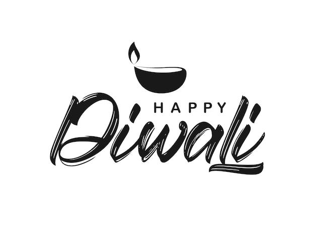 Handgeschreven lettersoort samenstelling van happy diwali met lamp.