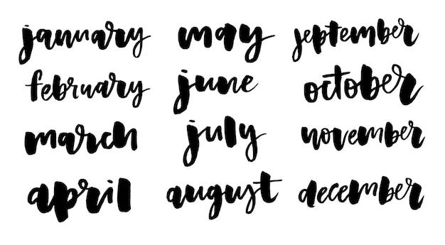 Handgeschreven namen van maanden