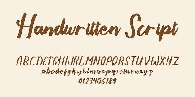 Handgeschreven script lettertype alfabet