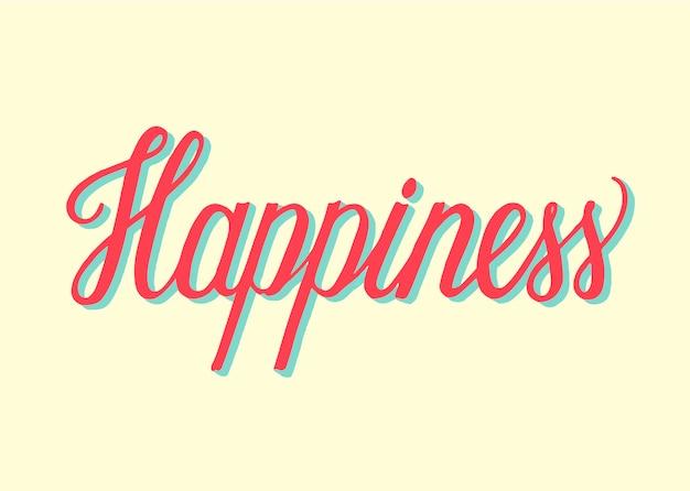 Handgeschreven stijl van geluk typografie