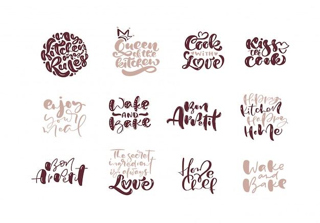 Handgeschreven vector koken belettering set op wit