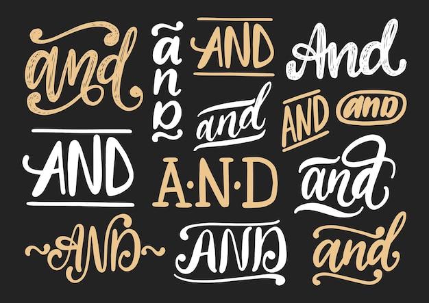 Handgeschreven voegwoorden en vector set. kalligrafische verzameling steekwoorden op zwarte achtergrond.