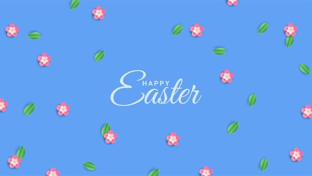 Handgeschreven vrolijk pasen op achtergrond met bloeiende lente kersenbloesems