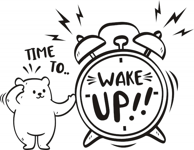 Handgeschreven woord tijd om wakker te worden met schattige beer