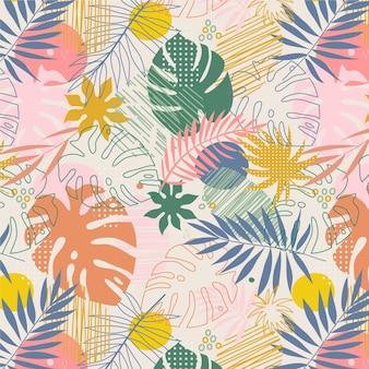 Handgetekend abstract bladerenpatroonontwerp