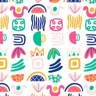 Handgetekend abstract vormenpatroonontwerp