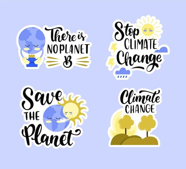 Handgetekend badgepakket voor klimaatverandering