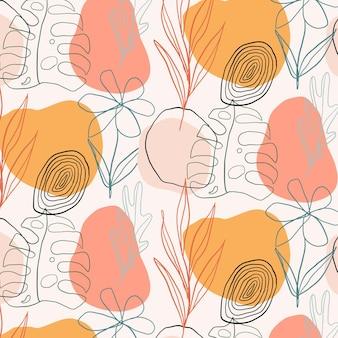 Handgetekend bladerenpatroon