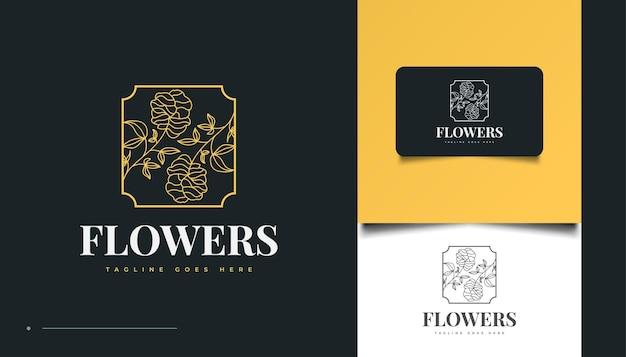 Handgetekend bloemenlogo in minimalistische lijnkunststijl, voor spa, cosmetica, schoonheid, bloemisten en mode