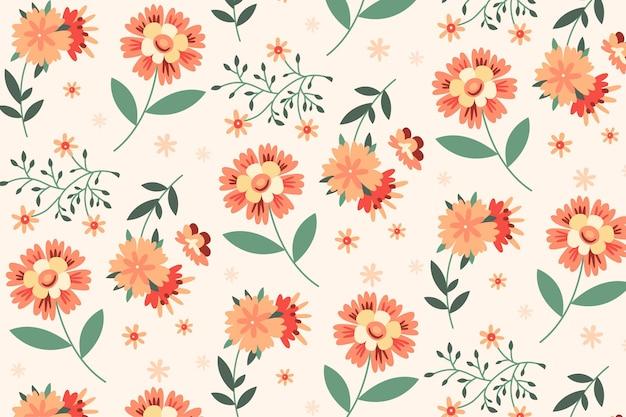 Handgetekend bloemmotief in perziktinten