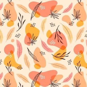 Handgetekend boho-patroon met bladeren