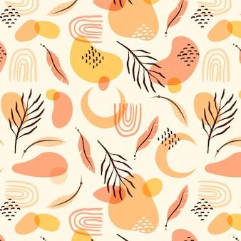 Handgetekend boho-patroon met planten