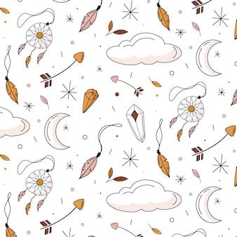 Handgetekend boho-patroon met wolken