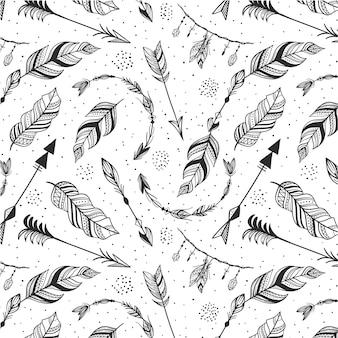 Handgetekend boho-patroonontwerp graveren