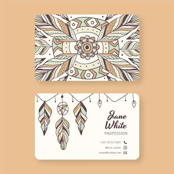 Handgetekend boho-visitekaartje