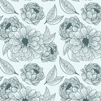 Handgetekend botanisch patroon graveren