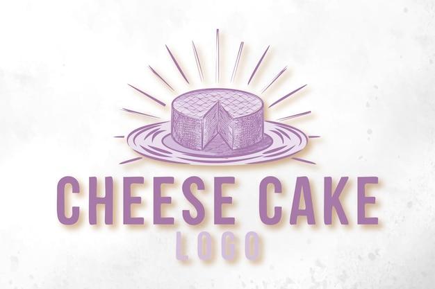 Handgetekend cheesecake-logo ontwerpen inspiratie