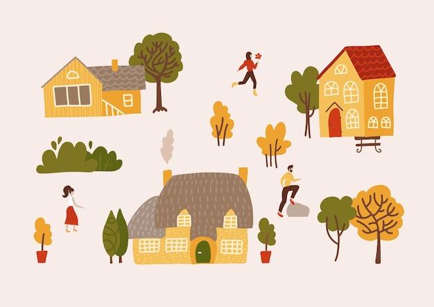 Handgetekend dorp met huizen, bomen en bewoners