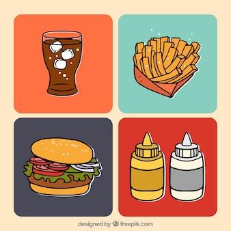 Handgetekend fastfood menu