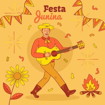 Handgetekend festa junina-ontwerp