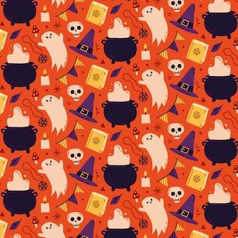 Handgetekend halloween-patroonontwerp