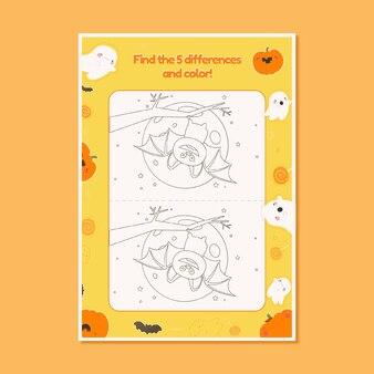 Handgetekend halloween-werkblad met vleermuizen