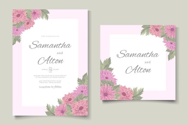 Handgetekend huwelijksuitnodigingsontwerp met prachtige chrysantenbloem