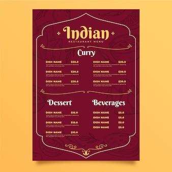 Handgetekend indiaas menu graveren