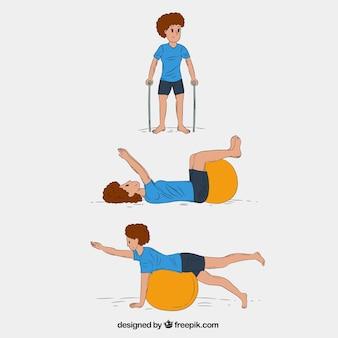 Handgetekend karakter in drie revalidatie oefeningen