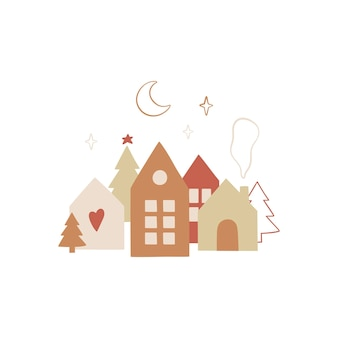 Handgetekend kerstontwerp met traditionele scandinavische hauses