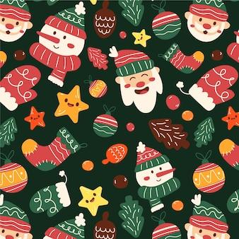 Handgetekend kerstpatroon