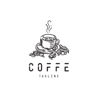 Handgetekend koffie-logo met retro-stijl Premium Vector