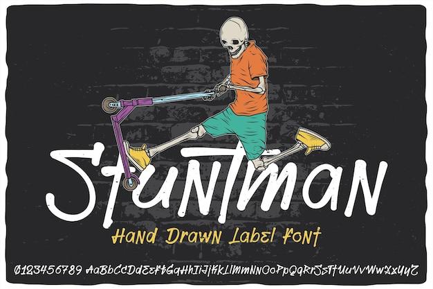 Handgetekend labellettertype met de naam stuntman