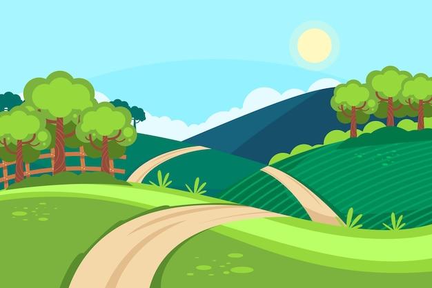 Handgetekend landschap met bomen