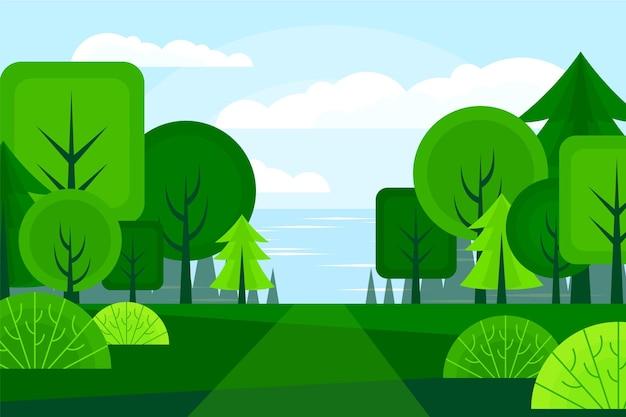 Handgetekend landschap met groene bomen