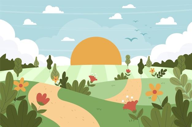 Handgetekend landschap met planten